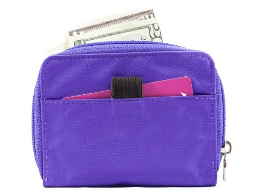 Big Skinny Women's Lynx Zippered Slim Wallet, Holds Up to 30 Cards, Purple