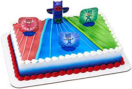 Amazon Com Decopac Cake Decorating Pj Masks We Re On Our Way Cake Topper For Birthdays And Parties Kitchen Dining