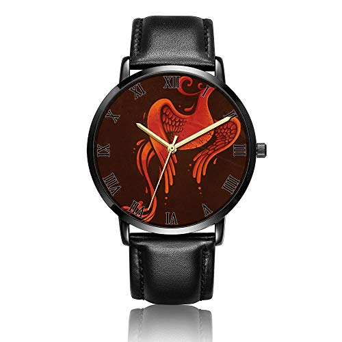 Customized Phoenix Fire Torch Wrist Watch, Black Leather Watch Band Black Dial Plate Fashionable Wrist Watch for Women or -