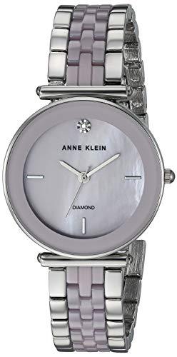 Anne Klein Women's AK/3159LVSV Diamond-Accented Silver-Tone and Lavender Ceramic Bracelet Watch