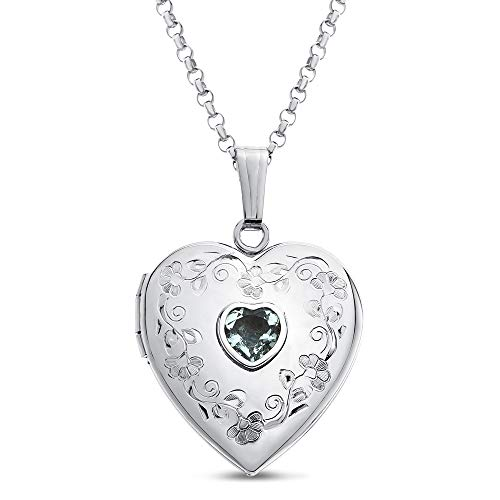 (Finejewelers Sterling Silver Heart Locket Pendant Necklace with Genuine Aquamarine March Birthstone)