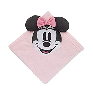 Disney Minnie Mouse Super Soft Corner Applique Baby Blanket with 3D Ears & Bow, Pink/Black/White