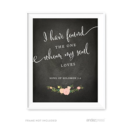 Andaz Press Biblical Wedding Love Quote Wall Art, Chalkboard Floral Roses Print Poster, 8.5x11-inch, I Have Found the One Whom My Soul Loves, Song of Solomon, Christmas Gift, 1-Pack