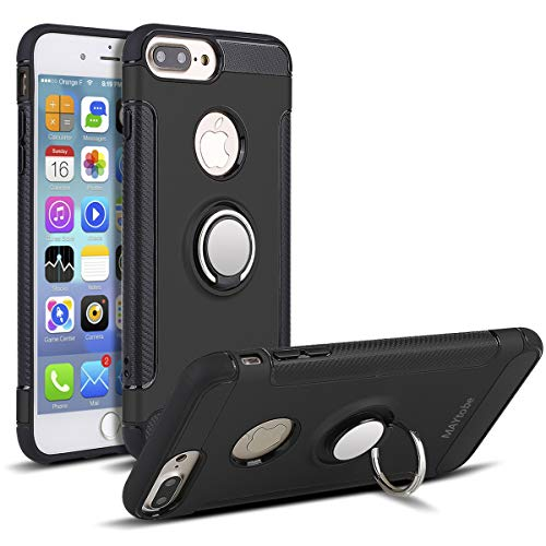 MAYtobe iPhone 8 Plus, 7 Plus Case - Bumper Cover for Apple iPhone 8 Plus, iPhone 7 Plus (5.5inch) Shock-Absorption 360 Rotating Heavy Duty Protective Back Rubber Cover - Black