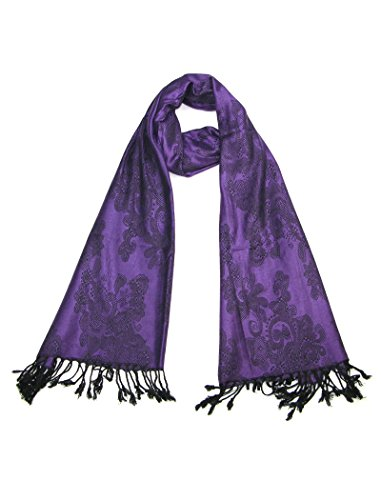 Women Scarf Purple - Floral Pashmina Scarfs - Beautiful ladies floral scarves (Purple Viscose)