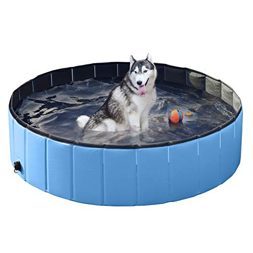 Yaheetech Foldable Pet Dogs Cats Paddling Pool Puppy Swimming Bathing Tub for Swimming Playing Bathing