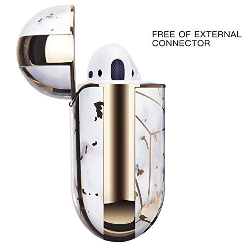 Airpods Case, SANKTON 360° Protective Chrome Stylish Marble Design for Airpods 1st/2nd Charging Case (White Marble Grid)