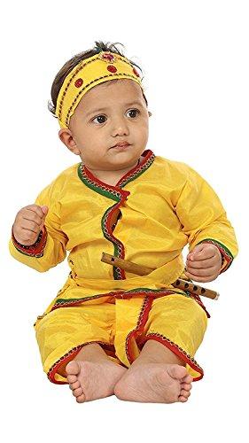 Kurta Dhoti (FOCIL Festival Season Special Wedding Season Special Yellow Krishna Dhoti Kurta Dress for Kids (Pack of 4-Basuri,Mor Pankh mukut,Bandhni Patka & Dhoti Kurta) (9-12 Months))