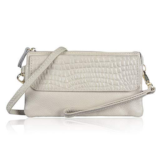 (Befen Leather Wallet Clutch Phone Wristlet Women Smartphone Wallet Wristlet with Exquisite Tassels/Card Slots/Shoulder Strap/Wrist Strap - Ivory)