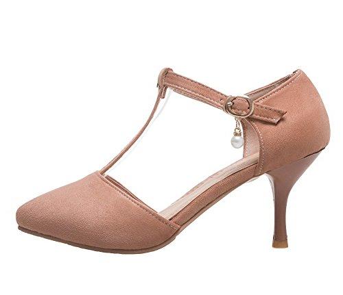 AgeeMi Shoes Damen Suede Mittler Absatz Rein Schnalle Pumps Schuhe Khaki