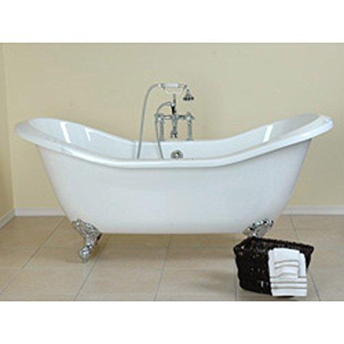 Randolph Morris 72 In Acrylic Double Slipper Clawfoot Tub - Rim Faucet (Acrylic Clawfoot Slipper Tub Rim)