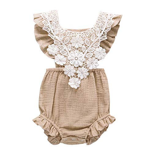 WOCACHI Newborn Infant Toddler Baby Girls Lace Floral Romper Bodysuit Sleeveless Clothes Outfits Under 5 Dollars Backless Hollow Out Jumpsuits