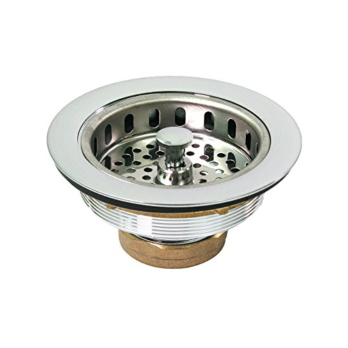 Everflow 7512 Heavy Duty Kitchen Sink (3-1/2 Inch) Stainless Steel Drain Assembly With Strainer Basket KOHLER Style Stopper