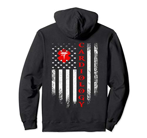 Vintage USA Cardiology Doctor American Flag Cardiologist Pullover Hoodie