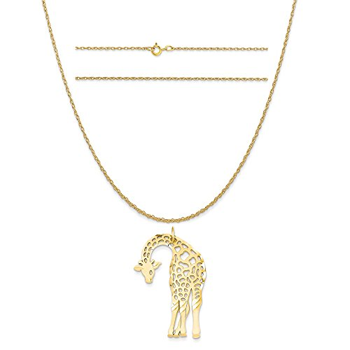 14k Yellow Gold Giraffe Charm on a 14K Yellow Gold Carded Rope Chain Necklace, 16
