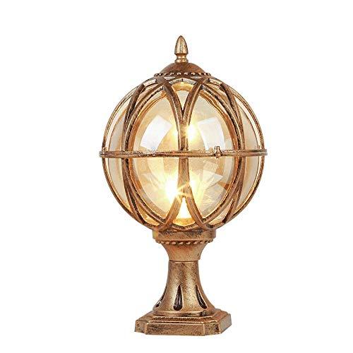 Traditional Victorian Outdoor Pillar Lantern Lamp Die-cast Aluminum Glass Globe Ball Column Light American Rural Garden Courtyard Entrance Parking Landscape Street Lighting Fixture ()