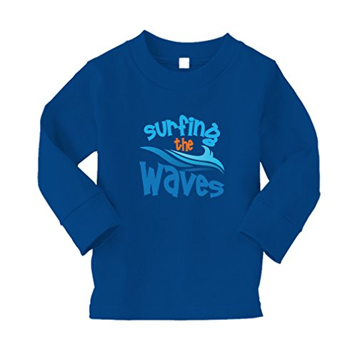 Surfing The Waves Sport #2 Kid/Baby Long Sleeve Cotton T-Shirt Tee - 2T, Royal ()