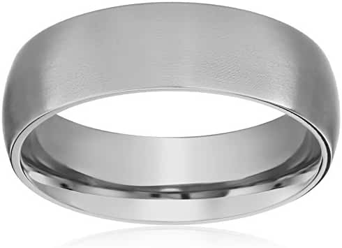 Titanium Plain Wedding Band / Thumb Ring 6mm Domed Comfort-Fit Matte Finish, sizes 5 - 12