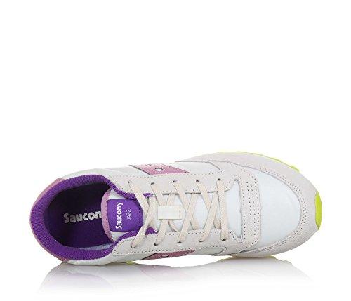 SAUCONY - Zapatilla deportiva Jazz Original de cordones beige, de ante y nylon, aplicaciones latereales rosas de cuero, Niña, Chica, Mujer Off White/Pink/Purple