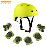 Kids Multi-Sport Helmet With Knee&Elbow Pads and Wrists 7 Pieces Kids Boys and Girls Outdoor Sports Safety Protective Gear Set for Skateboard Cycling Skate Scooter(4-8 Years Old) (Yellow)