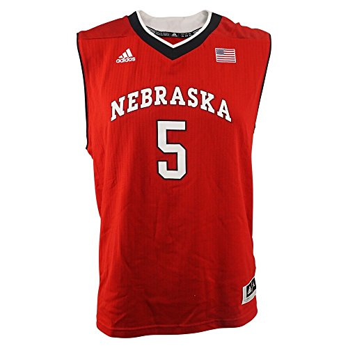 Nebraska Cornhuskers NCAA Adidas Red Official Road Away Replica #5 Basketball Jersey For Youth (S) (Official Replica Youth Away Jersey)