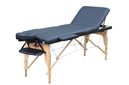 H-Root 3 Abschnitt leichte tragbare Massage Tisch Couch Bett Sockel Therapie Tatoo Salon Reiki Heilung schwedische Massage 13,5 KG (schwarz)