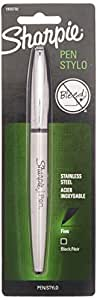 Sharpie Stainless Steel Pen Grip Fine Point Black Ink Pen (1800702) (2, Single)