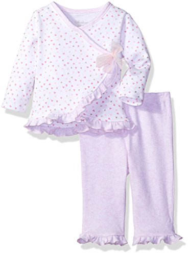 Sterling Baby by Vitamins Baby Girls' Ruffle Trim 2 Piece Pant Set, Bows, 6M