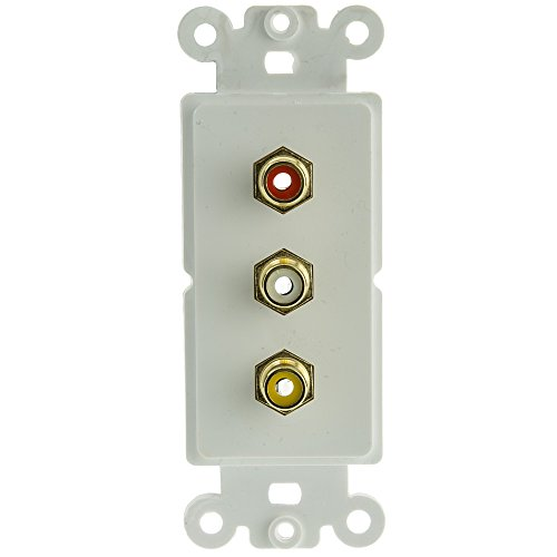ACL Decora 3 RCA Couplers (Red/White/Yellow), RCA Female Wall Plate Insert, White