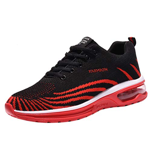 (Mens Athletic Shoes Air Cushion Casual Comfortable Sports Running Shoe Fashion Fly Knit Breathable Hiking Shoe Red)