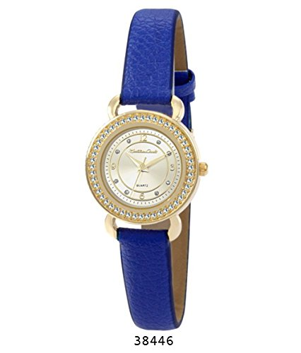 Montres Carlo Blue Faux Leather Strap with Gold Case White Dial