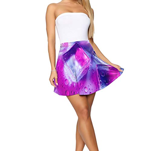 Women's Casual Ice Cube Cocktail Stretchy Flared Casual Mini Skater Skirt