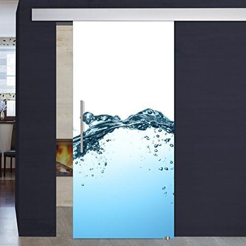 Impresión digital puertas correderas de cristal 1035-1-ALU60-GS - 900 x 2050 x 8 mm DIN derecha, 8 mm el vidrio de seguridad, pasamanos de acero inoxidable y sistema de deslizamiento ALU60: Amazon.es: