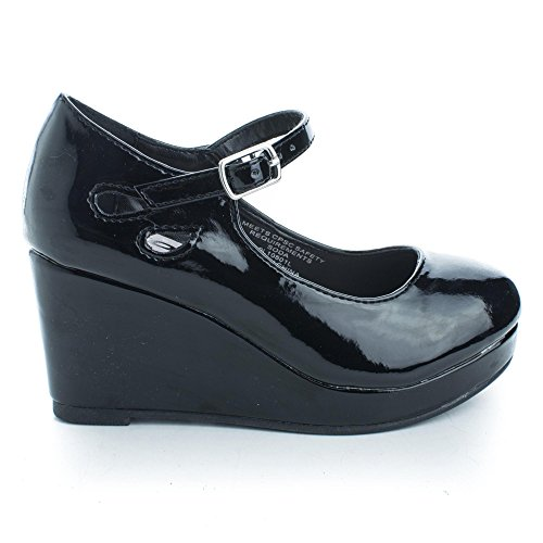 - SODA TyleeIIS Black Children's Almond Toe Mary Jane Platform Cut Out Dress Wedge Heel (13 M US Little Kid, Black Pat)