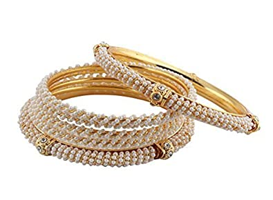 Buy Sitashi Gold Plated Fashion Jewelry Pearl Bangles Combo Of 2