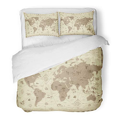 Emvency Decor Duvet Cover Set Full/Queen Size Retro Styled Map of The World with Mountains and Fantasy Monsters Colored in Sepia 3 Piece Brushed Microfiber Fabric Print Bedding Set Cover ()