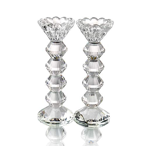 Symbol Glass Candle Holder - Qf Crystal Candlestick Holder, Taper and Tealight Suitable, Classic Candle Holder, Decor for Home, Set of 2