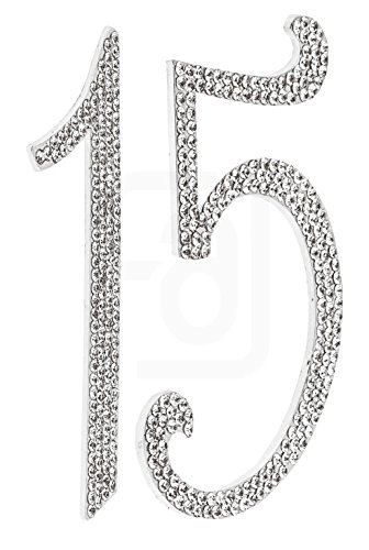 15, 15th Happy Birthday Cake Topper, Anniversary, Vow Renewal, Crystal Rhinestones on Silver Metal, Party Decorations, (Cute Halloween Cakes Birthday)