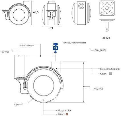 QC-JASON22P 4 M/öbelrollen 2 mit Bremse und 2 ohne Bremse Inklusive Montageplatte und Schrauben Silber