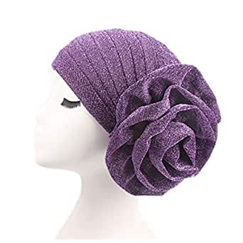 ZOONAI Women Girl Glitter Flower Chemo Beanie Cap Hair Loss Turban Stretchable Sleep Night Head wrap - Purple - One Size