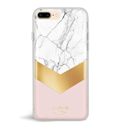 Zero Gravity Case Compatible with iPhone 7 Plus/8 Plus - Monaco - Clear Marble Design - 360° Protection, Drop Test Approved
