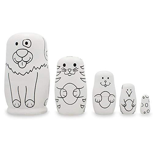 (BestPysanky Set of 5 Animals- Dog, Cat, Bunny, Mouse Unpainted Wooden Russian Nesting Dolls 4.75)
