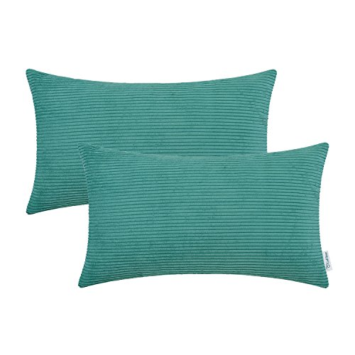(CaliTime Pack of 2 Cozy Bolster Pillow Covers Cases for Couch Bed Sofa Ultra Soft Corduroy Striped Both Sides 12 X 20 Inches Teal)