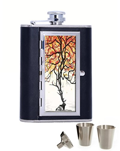 Painted Dave Matthews Portable Stainless Steel and Leather Alcohol Hip Flask with Compartment Cigarette Case,Black (6 oz)