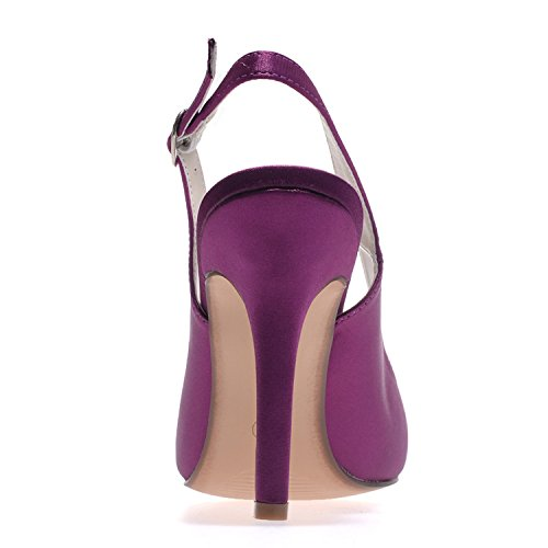 Evening Tacchi Purple Scarpe 0608 Kitten da Sposa Donna Damigella Prom Alti Dress D'Onore Party da 20 Toe Elobaby Satin adUwqva