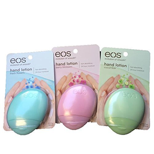 eos (evolution of smooth) Hand Lotion, Fresh Flowers, Berry Blossom & Cucumber-Total 3 Hand lotions