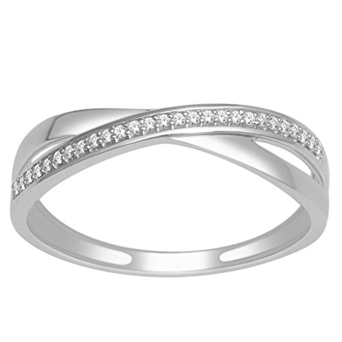 Midwest Jewellery Criss Cross Wedding Band Ring 10K White Gold 0.07ctw Diamond Infinity Ring