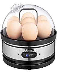 Aicok Egg Cooker 400w 7 Egg Capacity Electric Egg Cooker for Hard Boiled Eggs, Poached Eggs, Scrambled Eggs, or Omelets with Auto Shut Off Feature