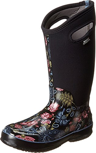 Bogs Women's Classic Tall Winter Blooms Waterproof Insulated Boot, Black Multi, 7 M US -