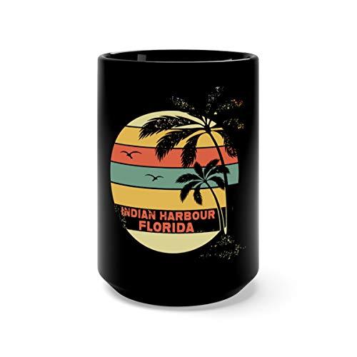Vintage Florida Indian Harbour Beach Cool Retro Favorite Drink Mug Cup Ceramic 15oz Black